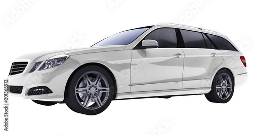 Foto op Canvas Cartoon cars Large white family business car with a sporty and at the same time comfortable handling. 3d rendering.