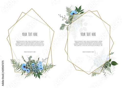 Obraz Set botanic card with wild flowers, leaves. Spring ornament concept. Floral poster, invite. - fototapety do salonu