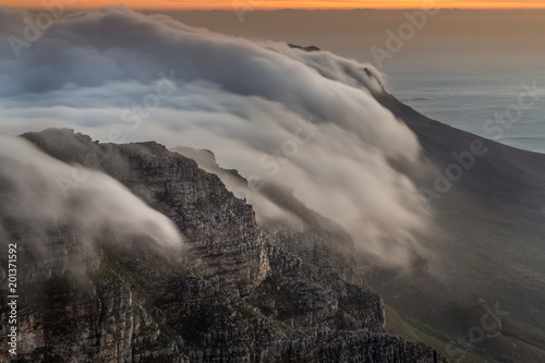 Canvas Print Clouds rolling over Table Mountain, Cape Town, Western Cape, South Africa