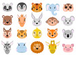 Big vector set of cute animals face icon flat.