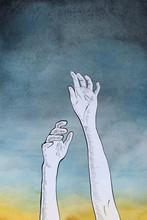 Arms Reaching Towards The Sky