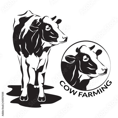Cow Stylized Symbol And Cow Head Portrait Silhouette Of Farm Animal