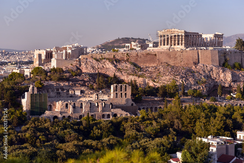 Poster Panoramic Skyline of the capital city of Athens and the famous Acropolis Hill in Greece