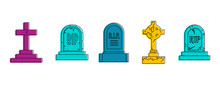 Grave Icon Set. Color Outline Set Of Grave Vector Icons For Web Design Isolated On White Background