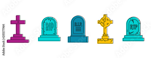 Fotomural Grave icon set