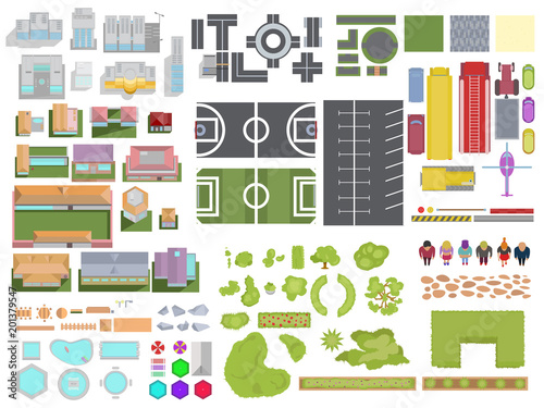 Canvas Prints White Landscape City elements set isolated on white background. City top view with buildings, trees, roads, cars, people, backyard elements, parking and stadiums. Vector landscape city view from above.