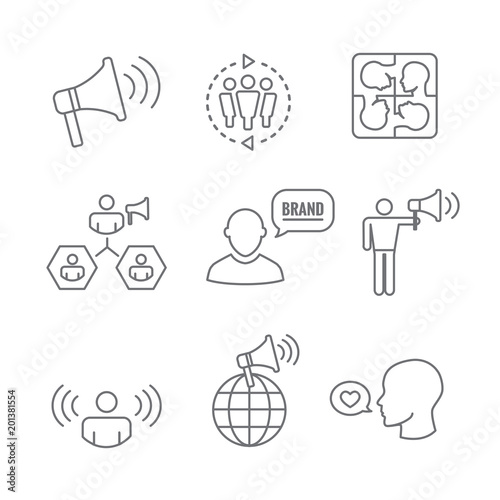 Spokesperson icon set - bullhorn, coordination, pr, and public relations person Tapéta, Fotótapéta