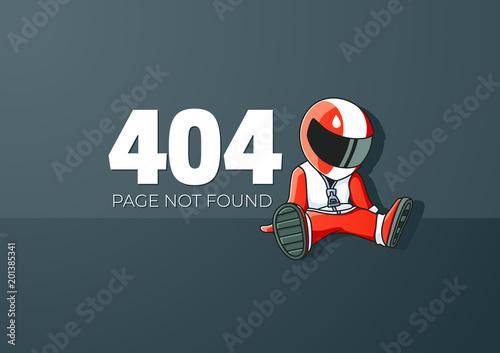 Photo Upset Cartoon Racer Error 404 Screen Template
