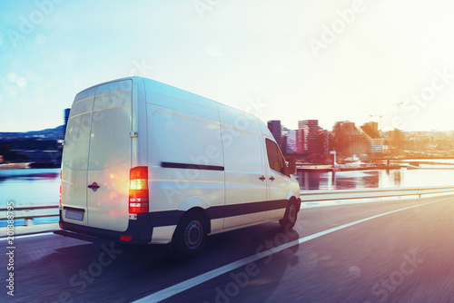 Van run fast on the highway to deliver. 3D Rendering Canvas-taulu