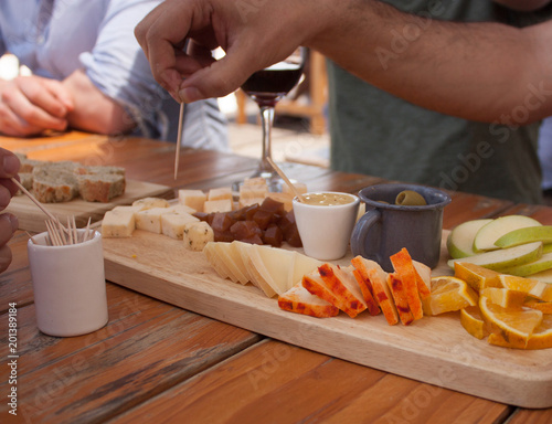 cheeses near me to taste with bread,  wine, fruits, olives, and honey Wallpaper Mural