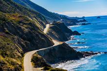 Coastline Panorama - Pacific Valley, California, February 21, 2018:  Highway 1 Coursing Along The Caliornia Coastline.