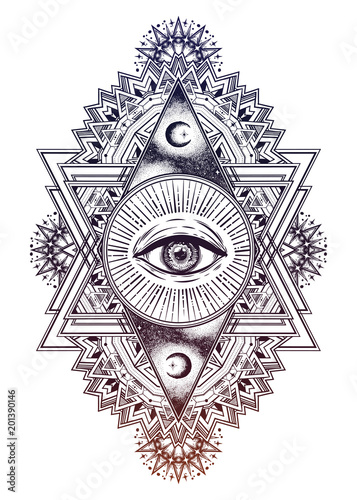 Triangle composition with sacred geometry eye. Fototapete