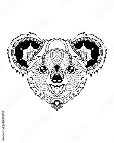 Fototapeta premium Zentangle miś koala stylizowane. Ilustracja wektorowa odręczne