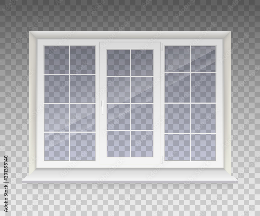 Fototapety, obrazy: Closed window with transparent glass in a white frame. Isolated on a transparent background. Vector