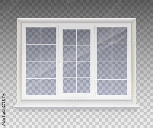 Closed window with transparent glass in a white frame. Isolated on a transparent background. Vector