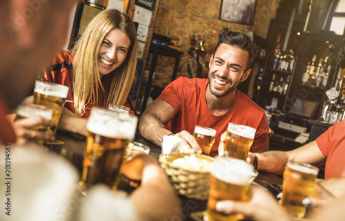 Stampa su Tela Happy friends group drinking beer at brewery bar restaurant - Friendship concept