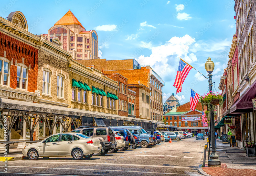 Fotografía  Small town main street USA hometown vintage commercial downtown storefronts with