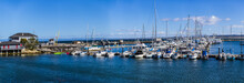 Fisherman's Wharf Monterey - Monterey, California, February 19, 2018:  Historic Cannery Row, Fisherman's Wharf And Marina Are Dotted With Monuments And Sculptures.