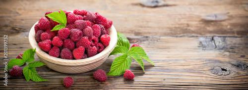 Fresh raspberries in the bowl