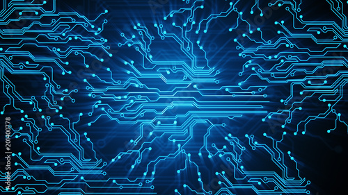 Fotografiet  Blue lines drawn by bright spots eventually create an abstract image of a circuit board