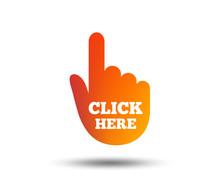 Click Here Hand Sign Icon. Pre...
