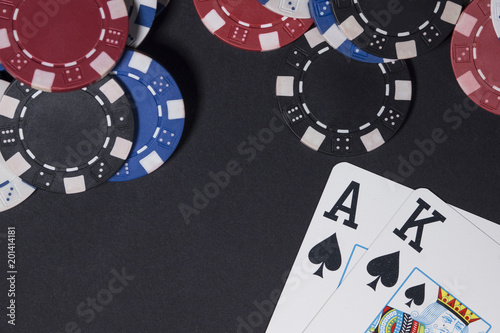 Photo  Poker chips and cards