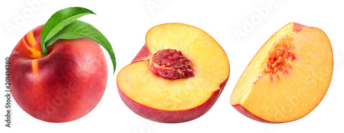 Leinwand Poster peach fruits Isolated