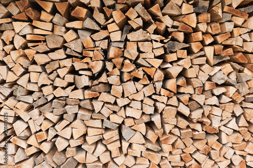 Poster Brandhout textuur Pile of wood logs. Wood texture background or pattern.