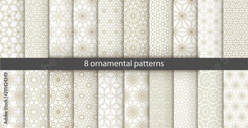 Poster Artificiel Big set of 20 oriental patterns. White and gold background with Arabic ornaments. Patterns, backgrounds and wallpapers for your design. Textile ornament. Vector illustration.