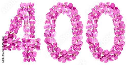 Fotografia  Arabic numeral 400, four hundred, from flowers of viola, isolated on white backg