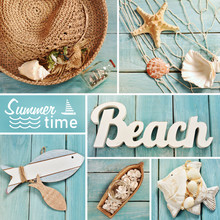 Summer Collage With Beach Accessories On Blue Wooden Board