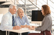 Female manager consulting mature couple in office