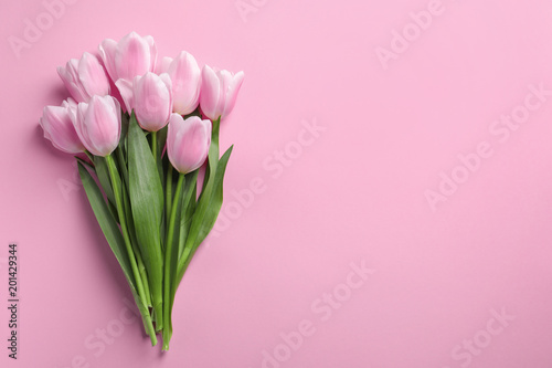 Fototapety, obrazy: Beautiful tulips for Mother's Day on color background, top view