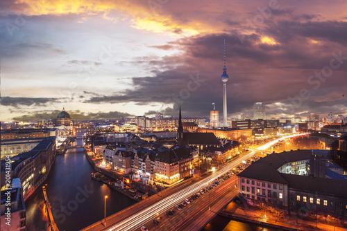 Poster Lieux connus d Amérique Berlin Skyline near Alexanderplatz. Transition