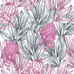 FototapetaProtea seamless pattern. Linear sketchy style flower elements. Vintage fabric design.