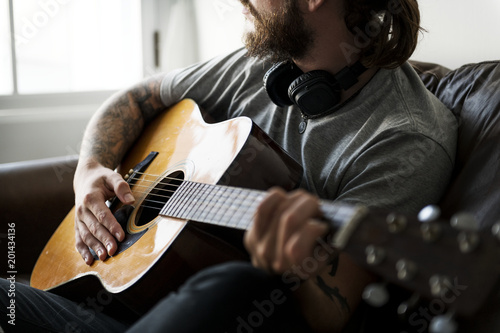 Caucasian man in a songwriting process Canvas Print
