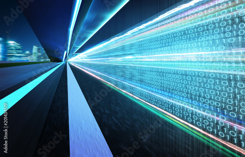 Tunnel road with binary code numbers on motion blurred asphalt road , speed and faster digital matrix technology information concept Fototapet