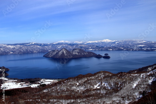 Foto op Aluminium Arctica Landscape taken from Hokkaido, lake Toya, and its surroundings from the top of the mountain