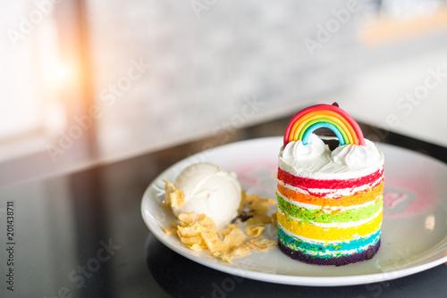 Foto op Aluminium Picknick Delicious rainbow cake