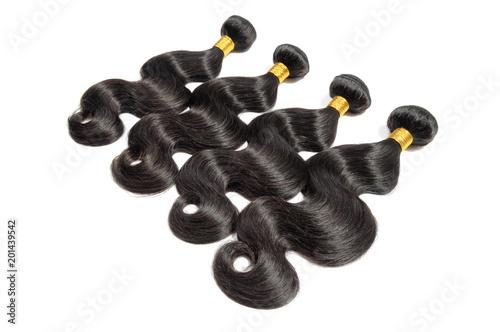 Obraz na plátně Body wave black human hair weaves extensions bundles
