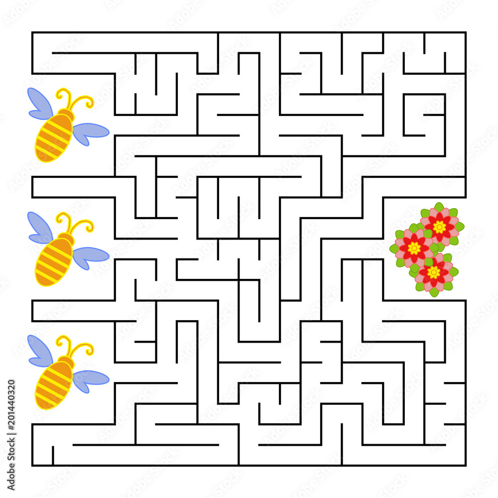 Fototapeta A square labyrinth. What a bee will fly to the flower. Simple flat isolated vector illustration. With the answer.