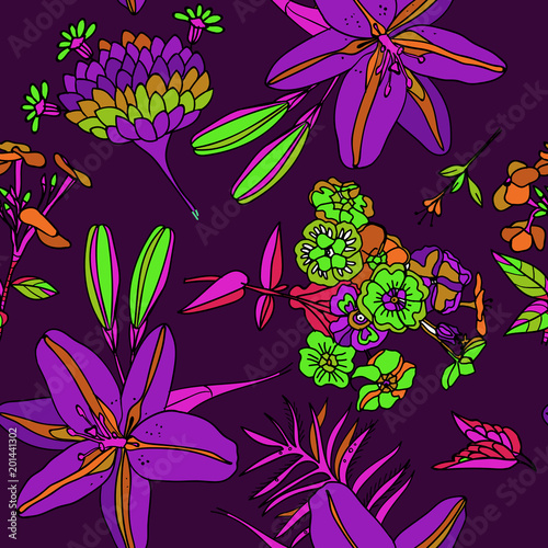 Foto op Canvas Draw Seamless floral pattern.