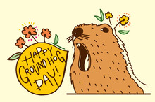 Happy Groundhog Day Vector Ill...