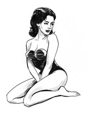 Ink Black And White Drawing Of...