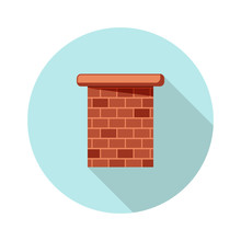 Colored Flat Round Icon, Vector Design With Shadow. Brick Chimney Pipe For Illustration Of House's Part, Heating Method And Roof