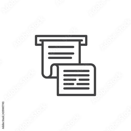 invoice or paycheck outline icon linear style sign for mobile concept and web design