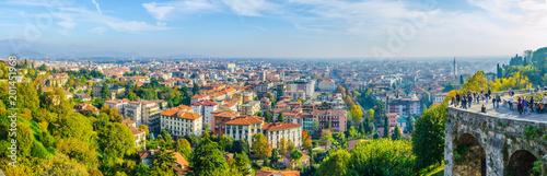 Fotografie, Obraz  Aerial view of Bergamo, Italy