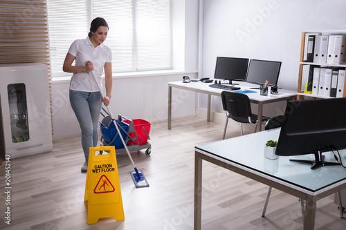 Wet Floor Caution Sign On Floor Fototapeta