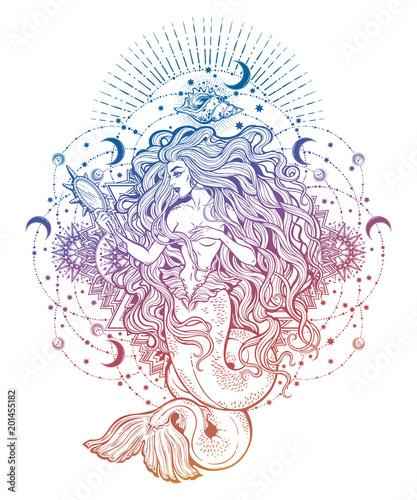 Fotografie, Obraz  Mermaid girl with magic mirror in ornate mandala.