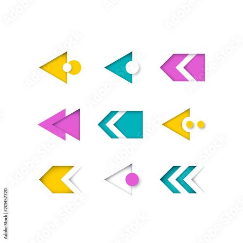 Fototapeta Vector set of color modern arrows and pointers for web design, presentations and infographics. obraz na płótnie